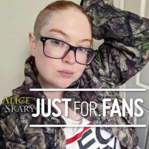 A photo of Alice Skary with the JustFor.Fans logo.