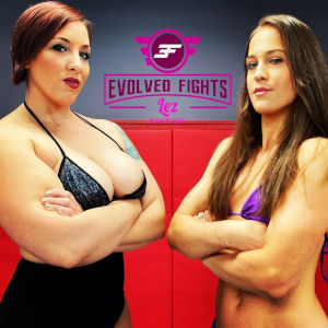 A promo photo for the Fall Brawl featuring two female wrestlers and the Evolved Fights Lez logo.