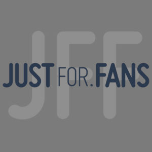 Graphic showing the JustFor.fans logo over the JFF logo in background.