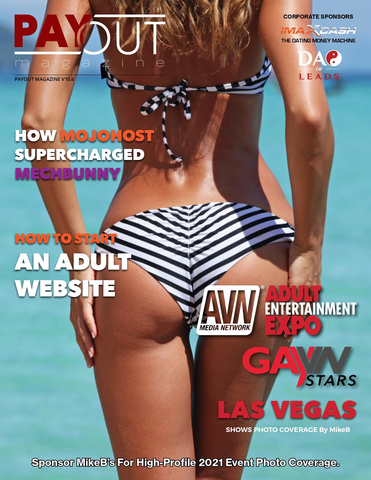 Cover of Payout Magazine Online, Volume 10.03, the silhouette of a surfer babe ankle-deep in setting- sun-lit water.